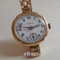 Ladies Vintage. 375 9ct Gold Rolex Wrist Watch & Period Box Plated Bracelet