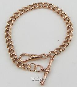 Ladies Vintage 9ct 9carat Rose Gold Solid Linked T-Bar Dress Bracelet HALLMARKED