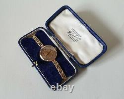 Ladies Vintage 9ct Gold Manual Winding Rolex On A Rolled Gold Bracelet + Box