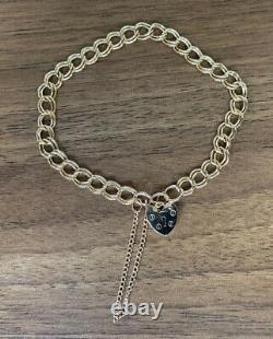 Ladies Vintage 9ct Solid Gold Love Heart Padlock Double Curb Link Charm Bracelet