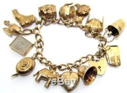Ladies women's 9ct 9carat yellow gold chunky charm bracelet with 14 charms
