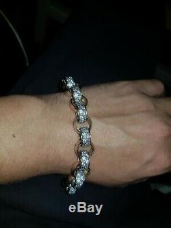 Large 9ct Gold Cz Belcher Bracelet