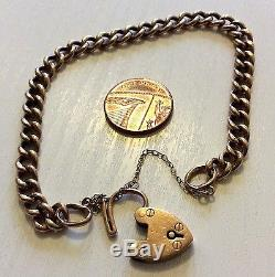 Lovely Ladies Antique Rose 9ct Gold Bracelet With Padlock Very Old Rosey Gold