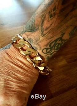 Massive 173.3g 9ct Yellow Gold Heavy Classic Curb Gents Bracelet Chain 173.3g