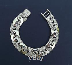 Men's 9ct Solid Gold Roman Link Bracelet 16mm link Fully Hallmarked 8.5 inch 50g