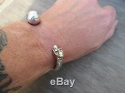 Men's Heavy Solid handmade 958 silver and 375 9ct gold Skull torque bangle