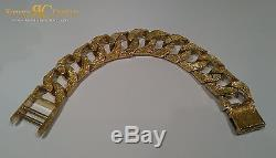 Men's Patterned Round Curb Link Bracelet 9 inch 9ct Gold 222 g Fully Hallmarked