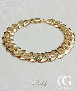 Men's Solid 9ct Yellow Gold Chunky Curb Bracelet 8.5