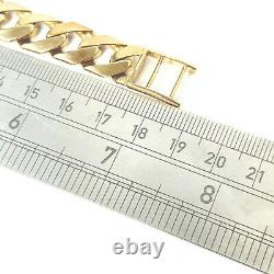 Men's Solid Gold Identity Bracelet 34.9g 9ct Yellow Gold 7.5 Inches Hallmarked