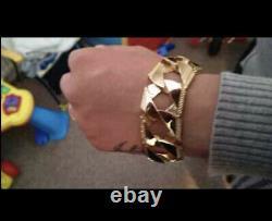 Men's Solid Yellow 9ct Gold Curb Bracelet 115 grams 9