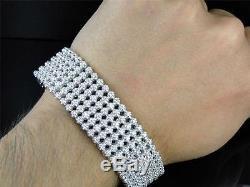 Mens 6 Row Toni 10k Solid White Gold Genuine 22 MM Diamond Bracelet Bangle 9 Ct