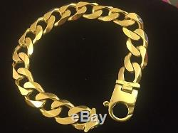 Mens 9CT Gold Heavy Curb Bracelet. 74.6 Grams