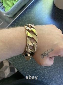 Mens 9ct 125g solid gold Chops Chaps Wide bracelet