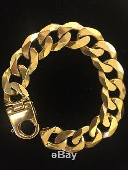 Mens 9ct Gold Heavy Curb Bracelet. 92 Grams