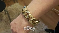 Mens 9ct Gold Very Heavy Curb Bracelet. 290 Grams. 9 1/2 Inch. Reduced price