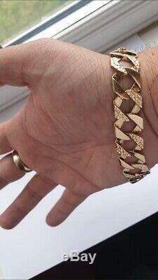 Mens 9ct gold curb bracelet 32 grams