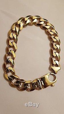 Mens 9ct solid gold curb bracelet 47.5 gram