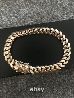 Mens Gold bracelet, Cuban 9ct