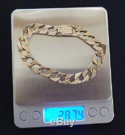 Mens Heavy 9ct 9K Gold Bracelet Chain 375 28.74g