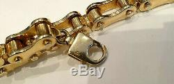 Mens Heavy Solid 9ct Gold Bicycle Link Bracelet Uk H, Marks 72.5 Grams Weight