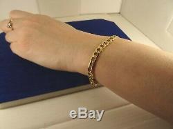 Mens Ladies Lightweight 9ct Deep Yellow Gold CURB Bracelet 7.25 4.3g Hm 6mm945n