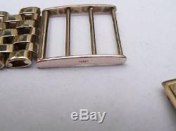 Mens Small Vintage Solid 9ct Gold Watch Bracelet Strap 22.5 Grams 18mm Lugs