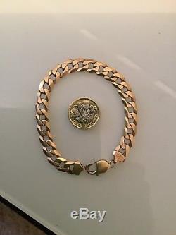 Mens Solid Gold 9ct curb chain Bracelet 375 23cm long
