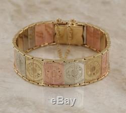 Multi Coloured 9ct Gold Flower Bracelet (31.1g)