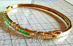 Natural Emerald & Diamond Hinged Bangle, Hallmarked 9ct gold, Free Shipping #XX