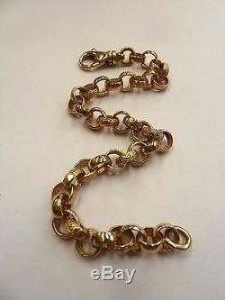 New 9ct Solid Gold Ladies Plain & Patterned Belcher Bracelet 15.2 grams
