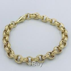 New Mens Gents Heavy 9ct Gold Engraved/Patterned Oval Link Belcher Bracelet #329