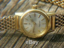 OMEGA LADYMATIC 18K WITH 9CT GOLD HEAVY BRACELET STRAP 41grams