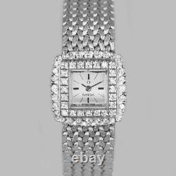 Omega Diamond Bracelet Watch Ladies Vintage 9ct Gold 1960's Watch 1.20ct diamond