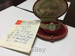 Omega Ladies 9ct Gold Bracelet Watch IN ORIGINAL BOX-PAPER-26.40 GRAMS