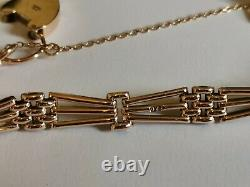 PALE ROSE GOLD GATE BRACELET 9ct 3 bar 7.5 heart padlock safety chain 15.8g