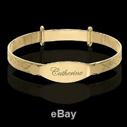 Personalised Real 9ct Gold Baby Bangle Christening Bracelet ANY NAME Easter Gift