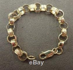 Plain & Patterned Belcher Bracelet 9ct Solid Gold Childs 9.2 grams