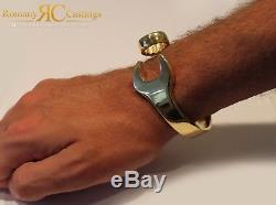 Plain Solid Spanner Bangle Bracelet cast in 9ct Yellow Gold 78 Grams Hallmarked
