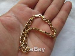 QUALITY PRE-OWNED FULLY HALLMARKED 9ct YELLOW GOLD, 8.25 CURB BRACELET 5.2g