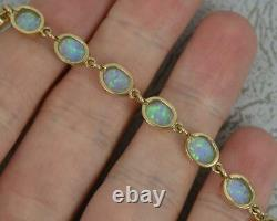 Quality Colourful Solid 9ct Yellow Gold and Opal 7 3/4 Long Bracelet