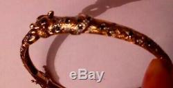 RARE VINTAGE FULLY HALLMARKED 9CT GOLD SAPPHIRE & DIAMOND LEOPARD BANGLE 9.1g