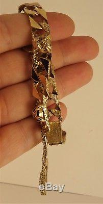 REDUCED Gents Solid 9ct Gold BULLDOG CURB Patt Bracelet 27g 7.75 CX904 rrp £1400