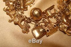 Rare Vintage 9ct Gold 1950s Charm Bracelet (26 Charms) 60.8g Boxed