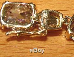 SECONDHAND EX GTV 9ct YELLOW GOLD MYSTIC OVAL TOPAZ LINE BRACELET 16 cm