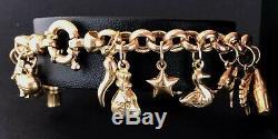 (SO4) 9ct CARAT Yellow Gold Modern Charm Bracelet 7.5 16.6grams