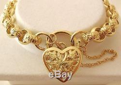 SOLID 9K 9ct Yellow Gold PLAIN & PATTERN BELCHER Bracelet 19.5 cm