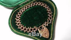 STUNNING Antique Victorian 9ct ROSE GOLD Fancy Link HEART PADLOCK Bracelet