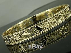 STUNNING Genuine 9ct SOLID Gold BOTANICAL Filigree WIDE Bangle 64mm