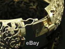 STUNNING Genuine 9ct Solid Yellow Gold X-WIDE & HEAVY Filigree HINGED Bangle