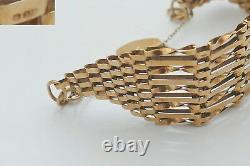 SUPERB QUALITY HM 9ct GOLD 9 BAR GATE BRACELET with HEART LOCK 18.56 g